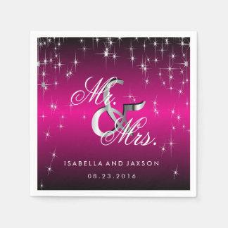 Metallic Hot Pink Star Lights Design Paper Napkins