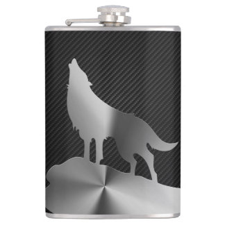 Metallic howling wolf with carbon fiber flasks