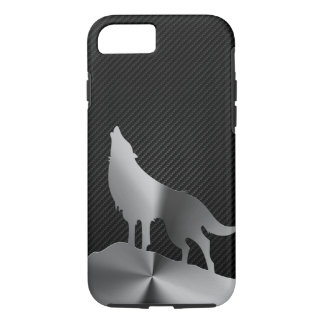Metallic howling wolf with carbon fiber iPhone 7 case