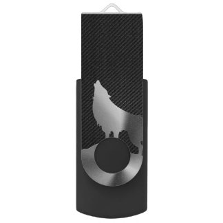 Metallic howling wolf with carbon fiber swivel USB 3.0 flash drive