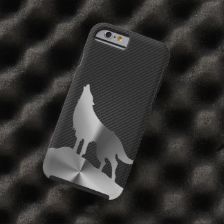 Metallic howling wolf with carbon fiber tough iPhone 6 case