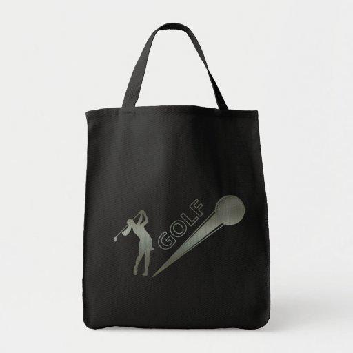Metallic lady golfer hitting golf ball canvas bag
