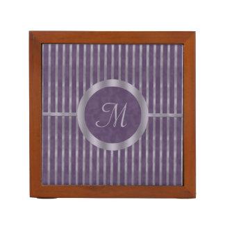 Metallic Lavender Stripe and Purple Monogram Desk Organiser