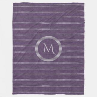 Metallic Lavender Stripe and Purple Monogram Fleece Blanket