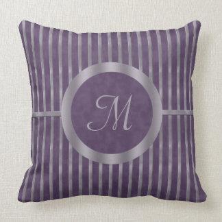 Metallic Lavender Stripe and Purple Monogram Throw Pillow