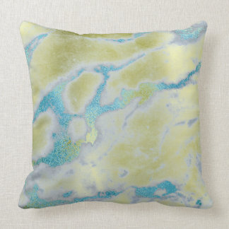 Metallic Lemon Yellow Ocean Blue Gold VIP Marble Cushion