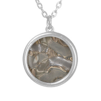 Metallic liquid metal round pendant necklace