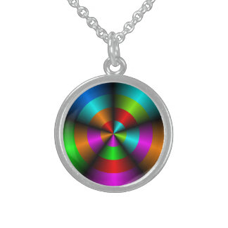 Metallic Look 3D Abstract  Necklace. Round Pendant Necklace