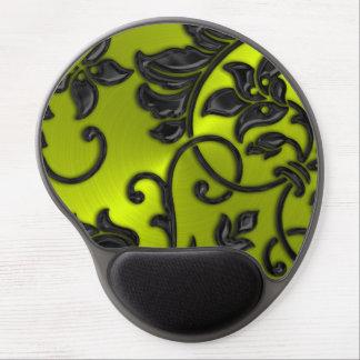 Metallic Look Damask on Lime Gel Mouse Pad