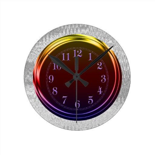 Metallic Look Funky Neon Silver Wall Clock Zazzle