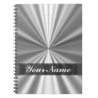 Metallic looking silver notebooks
