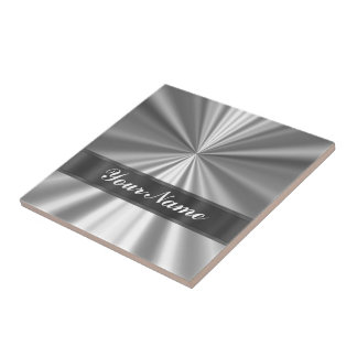 Metallic looking silver small square tile