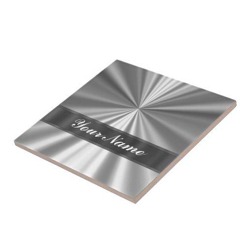 Metallic looking silver ceramic tiles