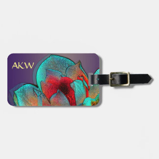 Metallic magnolia personalised luggage tag