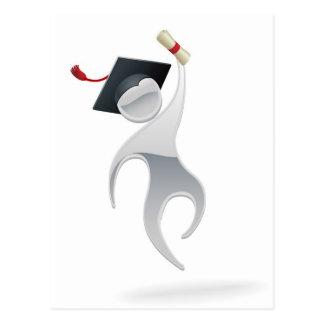 Metallic man graduation concept post card