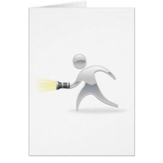 Metallic mascot with torch flashlight card