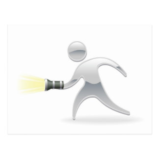 Metallic mascot with torch flashlight postcards