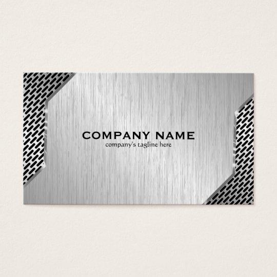 Metallic Mash & Brushed Faux Steel Business Card