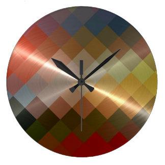 Metallic Metal Diamond Chevron Pattern Large Clock