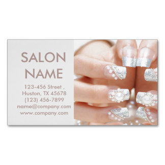 metallic nails fashion beauty SPA nail salon Magnetic Business Cards