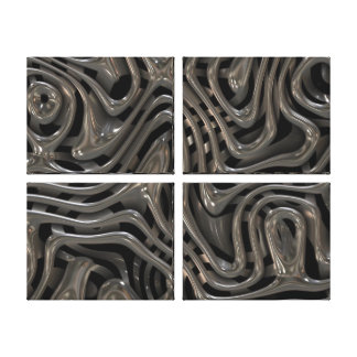 Metallic Ooze - Cool Liquid Metal Look Pattern Canvas Prints