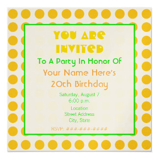 """Metallic Orange and Green Birthday Party Invitatin 5.25"""" Square Invitation Card"""