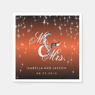 Metallic Orange Star Lights Design Paper Napkins