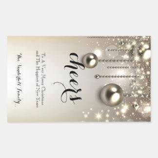 Metallic Ornaments Christmas Wine Bottle Label