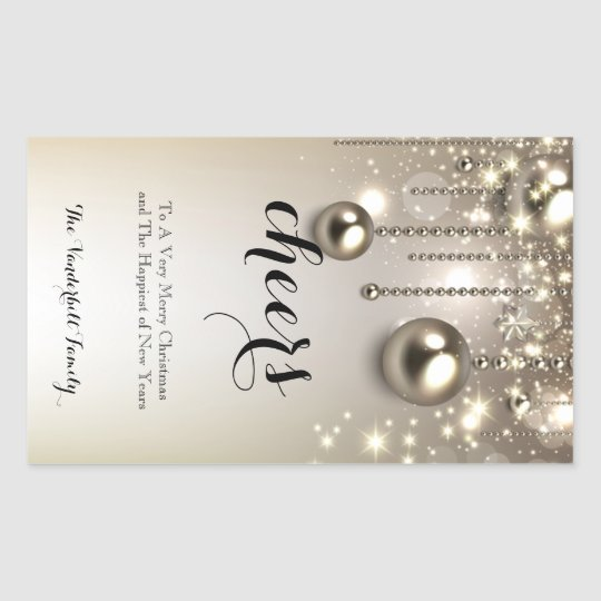 Metallic Ornaments Christmas Wine Bottle Label