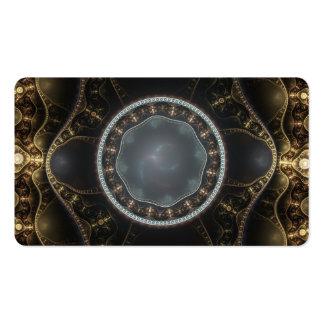 Metallic Ornate Steampunk Fractal Image Business Card Template
