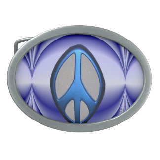 Metallic Peace - Oval Belt Buckle