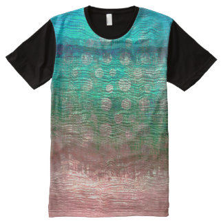 Metallic Peach Pink Glass Frozen Black Design All-Over Print T-Shirt