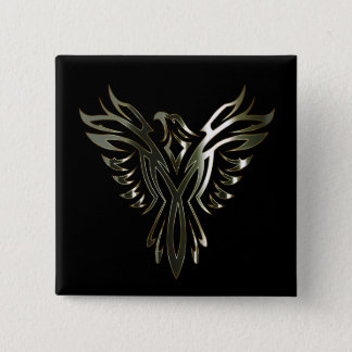 Metallic Phoenix 15 Cm Square Badge