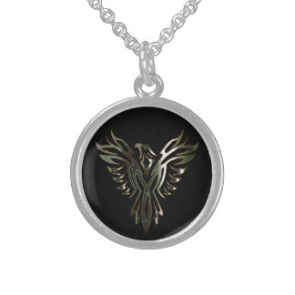 Metallic Phoenix Round Pendant Necklace