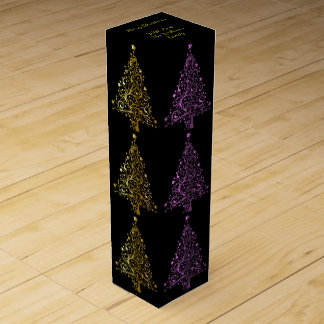 Metallic Pink Black Gold Christmas Tree Pattern Wine Gift Box