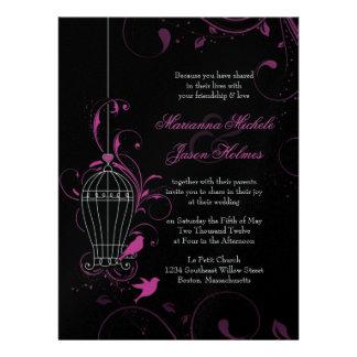 Metallic Pink Black Swirly Birdcage Wedding Invites