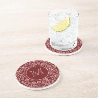 Metallic Pink Damasks Burgundy Background Monogram Drink Coasters