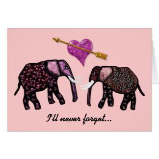 Metallic Pink Elephants Valentine Cards