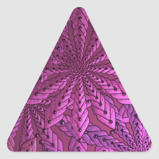 Metallic Pink Fractal Art Flowers Triangle Stickers
