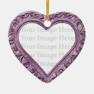 Metallic Pink Heart Frame Christmas Ornament