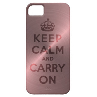 Metallic Pink Keep Calm And Carry On iPhone 5 Case