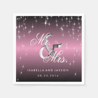 Metallic Pink Mauve Star Lights Design Paper Serviettes