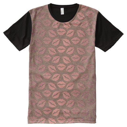 Metallic Pink Rose Gold Powder Faux Kiss Grungy