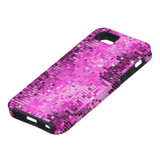 Metallic Pink Sequins Look Disco Mirrors Bling iPhone 5 Cover