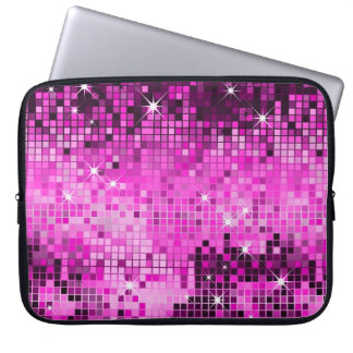 Metallic Pink Sequins Look Disco Mirrors Bling Laptop Computer Sleeves