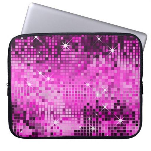 Metallic Pink Sequins Look Disco Mirrors Bling Laptop Computer Sleeves