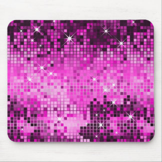 Metallic Pink Sequins Look Disco Mirrors Bling Mouse Mat