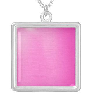 Metallic Pink Square Pendant Necklace