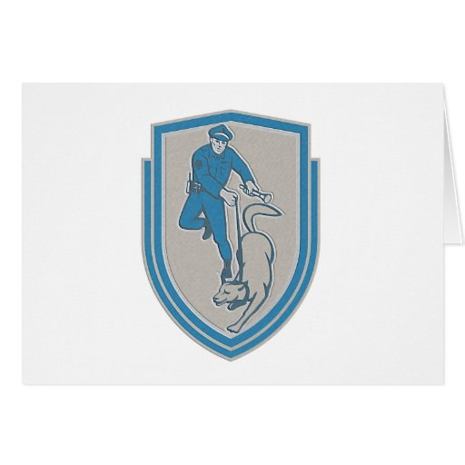 Metallic Policeman With Police Dog Canine Crest Re Greeting Cards
