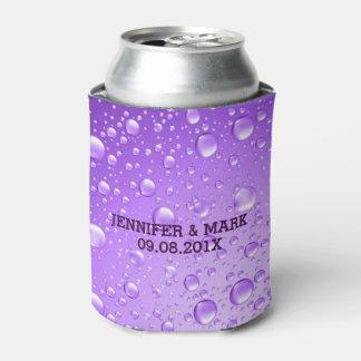 Metallic Purple Abstract Rain Drops Can Cooler
